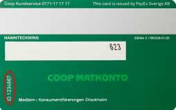 Här finns id-numret på det gröna MedMera-kortet